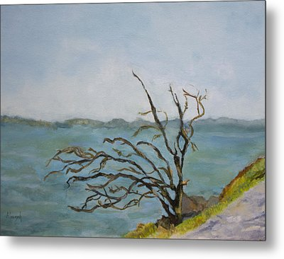 Tree On The Hudson River Metal Print