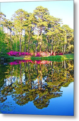 Tree Reflections And Pink Flowers By The Blue Water By Jan Marvin Studios Metal Print