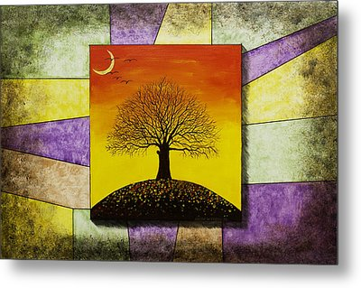 Tree Silhouette And Crescent Moon At Sunset Painting Metal Print