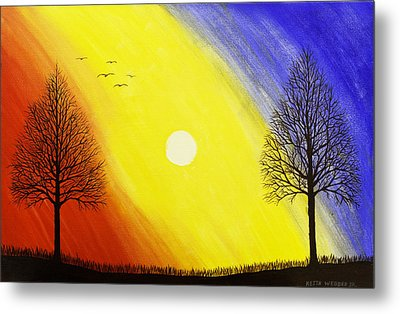 Tree Silhouette At Sunset Painting Metal Print