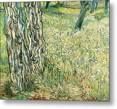 Tree Trunks In Grass Metal Print by Vincent van Gogh