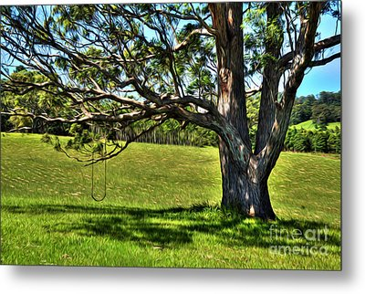 Tree With A Swing Metal Print by Kaye Menner