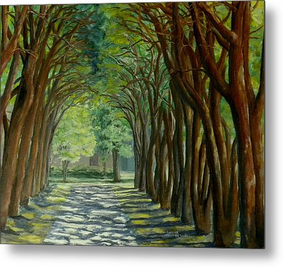 Metal Print featuring the painting Treelined Walkway At Lsu In Shreveport Louisiana by Lenora  De Lude