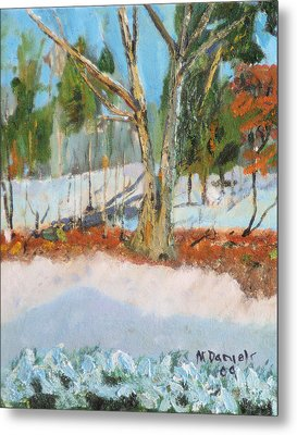Trees And Snow Plein Air Metal Print