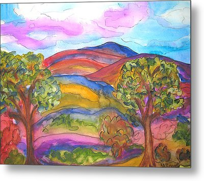 Trees And The Mountain Metal Print