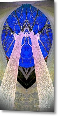 Trees In Silo Metal Print by Karen Newell
