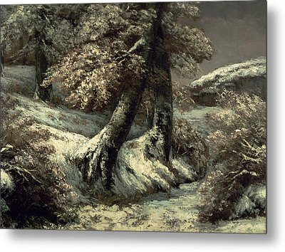 Trees In The Snow Metal Print by Gustave Courbet