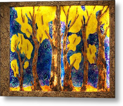 Trees Inside A Window Metal Print