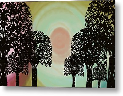 Trees Of Light Metal Print by Christine Fournier