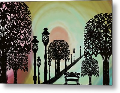 Trees Of Lights Metal Print by Christine Fournier