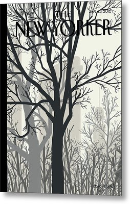 Trees On A Gloomy Day With A Faint View Metal Print