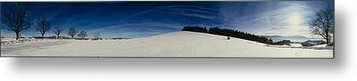 Trees On A Snow Covered Landscape, St Metal Print