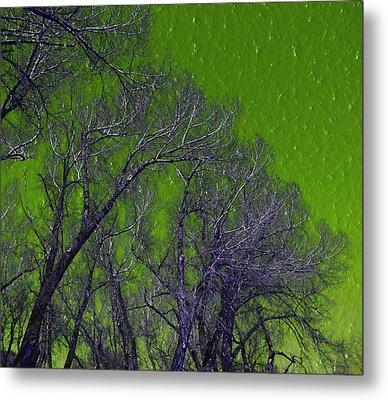 Trees On Green Sky Metal Print