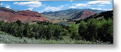 Trees On Red Hills, Gros Ventre Metal Print by Panoramic Images