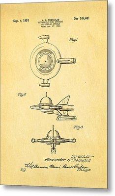 Tremulis Spaceship Hood Ornament Patent Art 1951 Metal Print by Ian Monk
