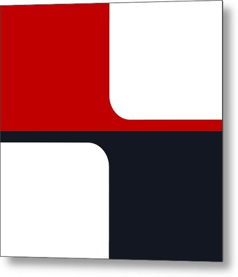Metal Print featuring the digital art Trendy White Red And Navy Graphic Color Blocks by Tracie Kaska