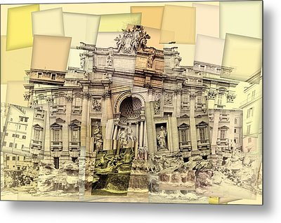 Trevi Fountain Cubism Metal Print