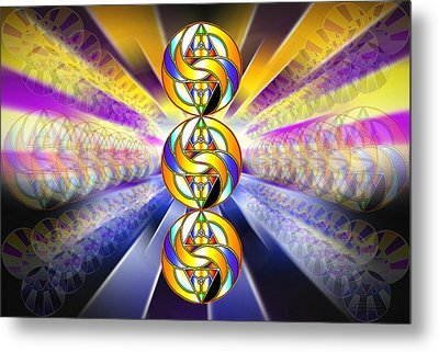 Metal Print featuring the drawing Tri-crescent Yin Yang by Derek Gedney