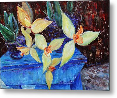 Metal Print featuring the painting Triangular Blossom by Xueling Zou