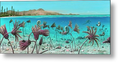 Triassic Land And Marine Life Metal Print by Richard Bizley