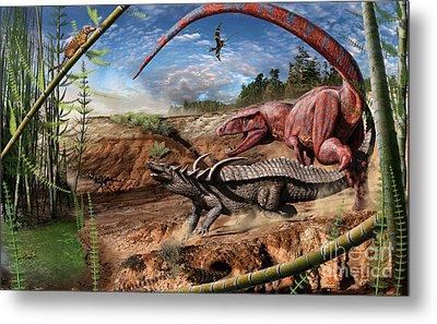 Triassic Mural 2 Metal Print