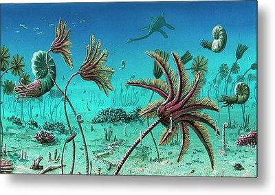 Triassic Underwater Scene Metal Print by Richard Bizley