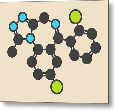 Triazolam Insomnia Drug Molecule Metal Print by Molekuul