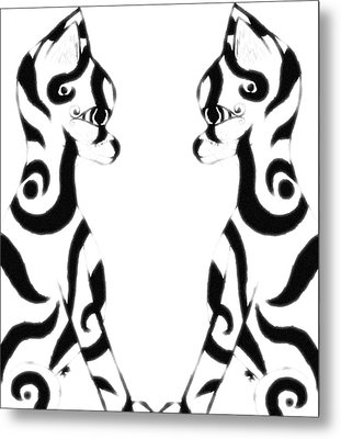 Tribal Black Cats On White Metal Print by Josephine Ring