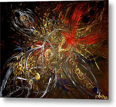 Tribal Phoenix Sword Metal Print by Pretchill Smith