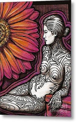 Tribal Tat Nude Metal Print by Dorinda K Skains