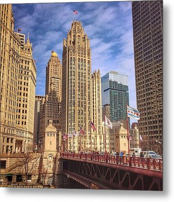 Tribune Tower And Dusable Bridge In Metal Print