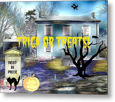 Trick Or Treats Haunted House Metal Print