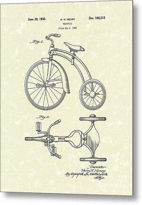 Tricycle 1936 Patent Art Metal Print