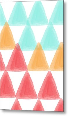 Trifold- Colorful Abstract Pattern Painting Metal Print by Linda Woods