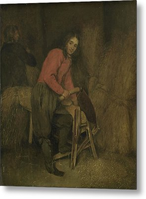Trimming Bales Of Hay, Attributed To Caspar Netscher Metal Print by Litz Collection