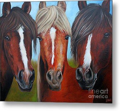 Metal Print featuring the painting Trio by Debbie Hart