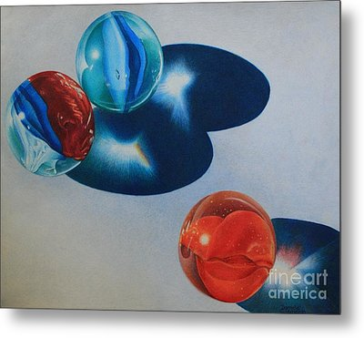 Metal Print featuring the painting Trio by Pamela Clements