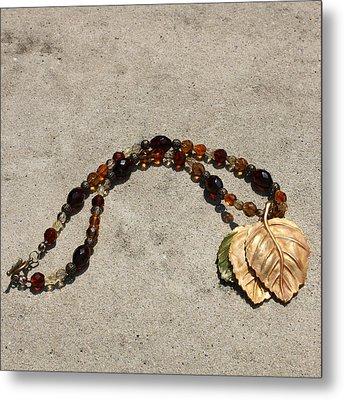 Triple Leaf Costume Brooch Pendant Necklace 3637 Metal Print by Teresa Mucha