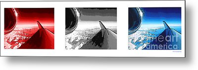 Metal Print featuring the photograph Red White Black An White Blue An White Jet Pop Art Planes. by R Muirhead Art
