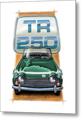 Triumph Tr-250 Sportscar In Dark Green Metal Print by David Kyte