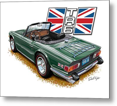 Triumph Tr-6 British Racing Green Metal Print by David Kyte