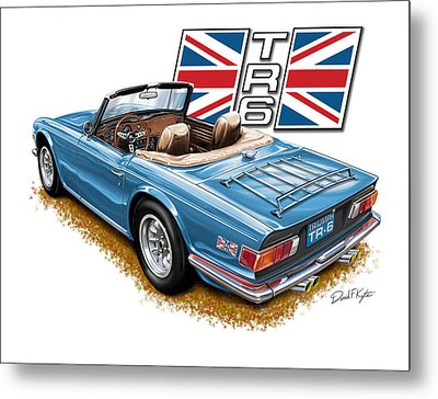 Triumph Tr-6 In French Blue Metal Print by David Kyte