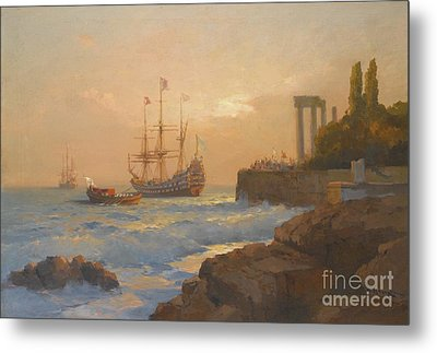 Triumphant Ship Approaching The Harbour Metal Print by Celestial Images