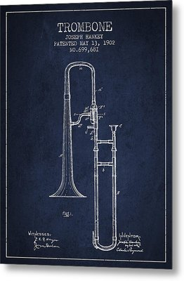 Trombone Patent From 1902 - Blue Metal Print by Aged Pixel