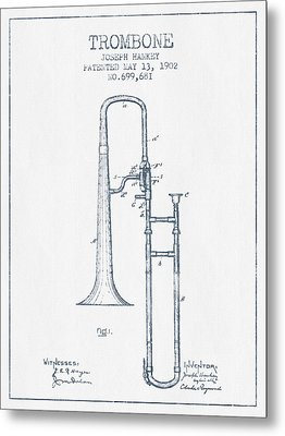 Trombone Patent From 1902 - Blue Ink Metal Print by Aged Pixel