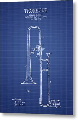 Trombone Patent From 1902 - Blueprint Metal Print by Aged Pixel
