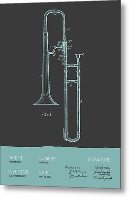 Trombone Patent From 1902 - Modern Gray Blue Metal Print