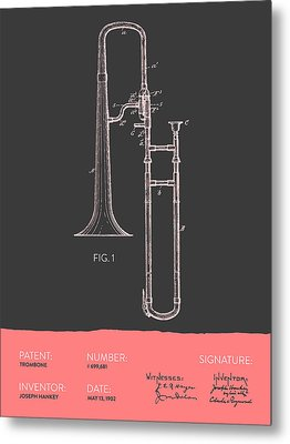 Trombone Patent From 1902 - Modern Gray Salmon Metal Print by Aged Pixel