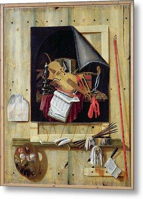 Trompe Loeil Still Life, 1665 Oil On Canvas Metal Print by Cornelis Norbertus Gysbrechts