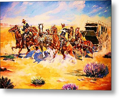 Troopers Stopping A Runaway Coach Metal Print